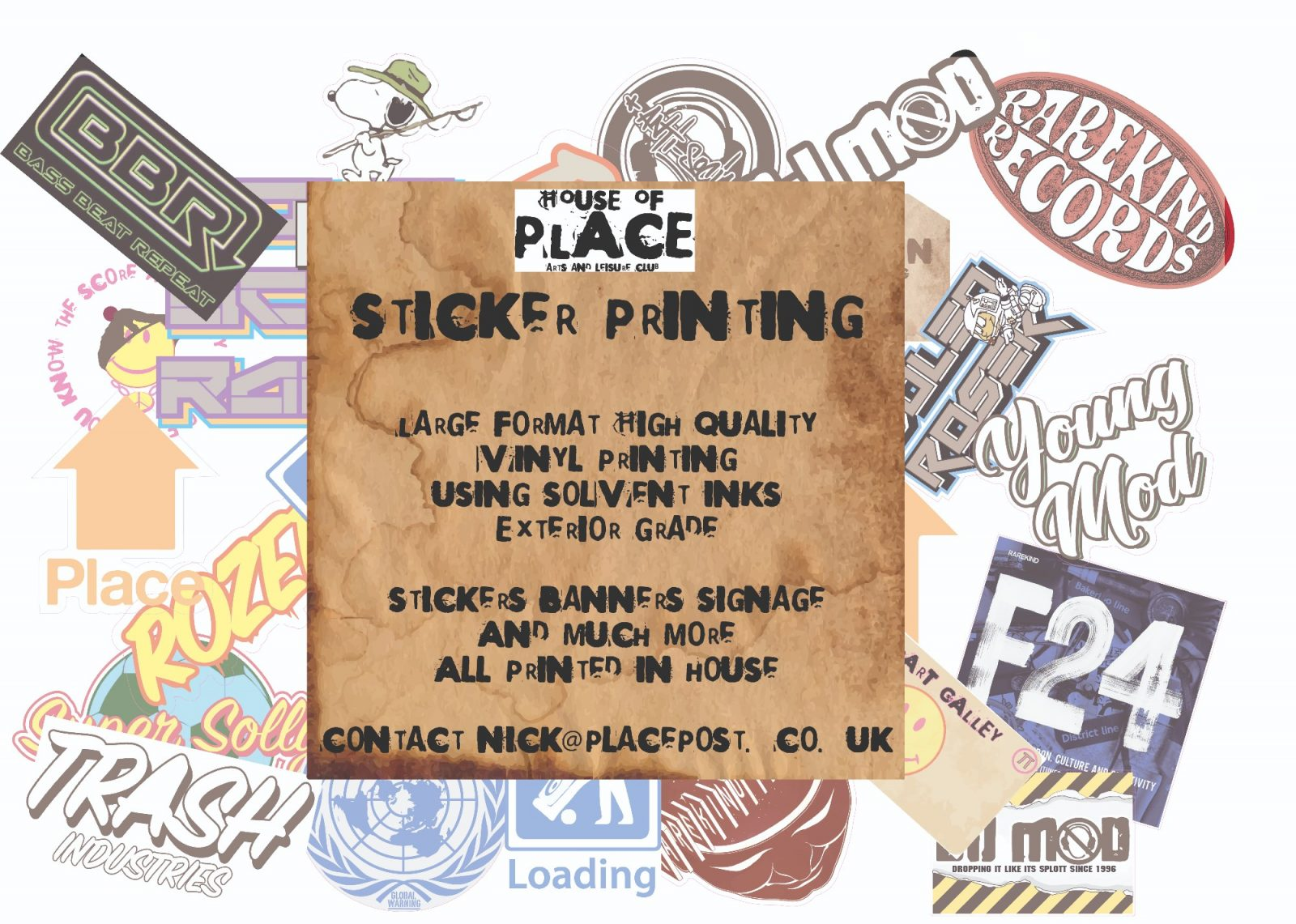 houseofplace.com printing vinyl Stickers - Solvent printing - Custome stickers